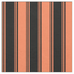[ Thumbnail: Black & Coral Colored Pattern Fabric ]