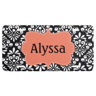 Black Coral Damask Personalized License Plate
