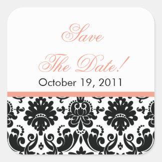 Black & Coral Damask Save the Date Wedding Sticker
