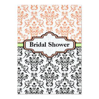 "Black coral lime damask wedding bridal shower 5"" x 7"" invitation card"
