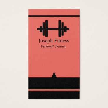 Professional Business Black Coral Personal Trainer Fitness Business Card