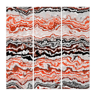 Black Coral Red Orange White Mineral Agate Pattern Triptych
