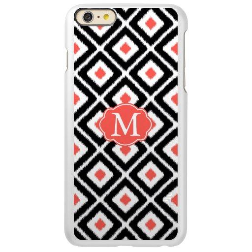 Black, Coral, White Ikat Diamond Pattern Incipio Feather Shine iPhone 6 Plus Case