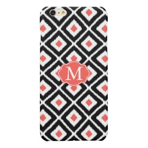 Black, Coral, White Ikat Diamond Pattern Glossy iPhone 6 Plus Case