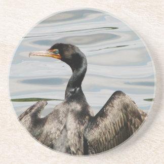 Black Cormorant Beverage Coasters