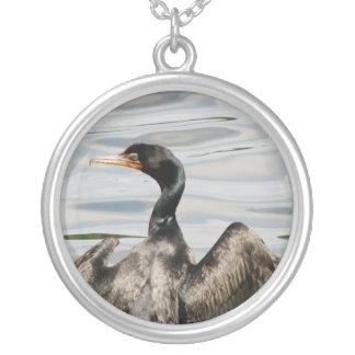 Black Cormorant Round Pendant Necklace
