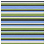 [ Thumbnail: Black, Cornflower Blue, Beige & Green Stripes Fabric ]