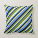 [ Thumbnail: Black, Cornflower Blue, Beige & Green Stripes Throw Pillow ]