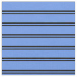 [ Thumbnail: Black & Cornflower Blue Colored Stripes Fabric ]