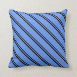 [ Thumbnail: Black & Cornflower Blue Colored Stripes Pillow ]