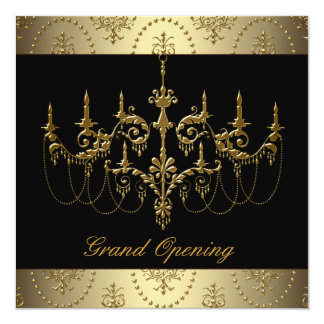 Black Corporate Business Grand Opening Party 5.25x5.25 Square Paper Invitation Card