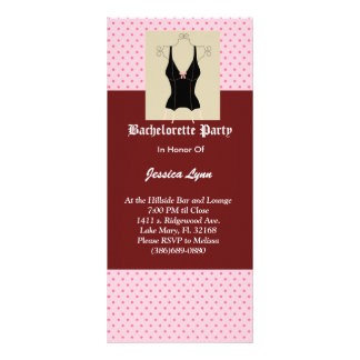 Black Corset & Pink Bachelorette Party Invitation Customized Rack Card