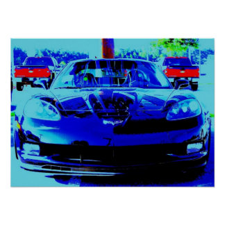 Black Corvette Z06 from the front...altered photo Poster
