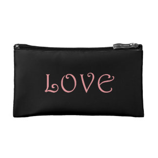 Black cosmetics bag with pink word 'love'