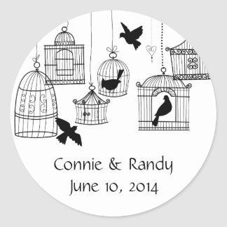Black Country Bird Cages Round Stickers