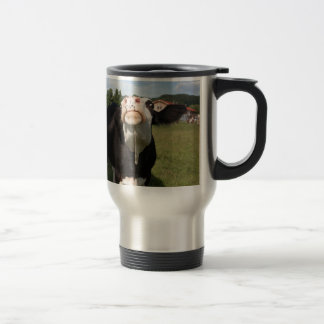 black cow attacking you travel mug
