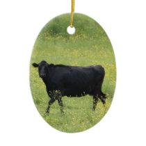 Black cow ceramic ornament