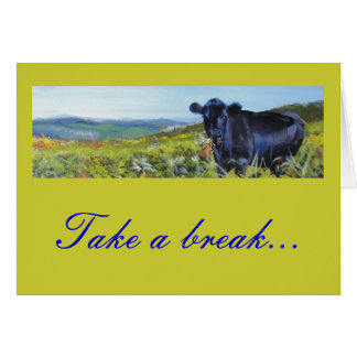 black cow & landscape painting greeting card