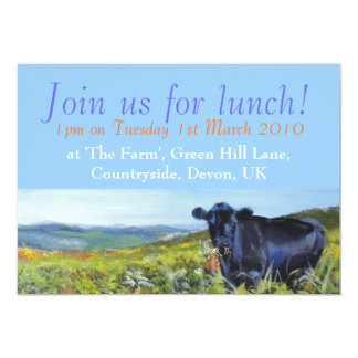 Black Cow & landscape painting Join us for lunch! Card