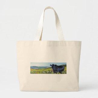 black cow & landscape painting large tote bag