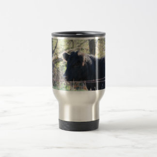 Black Cow Looking Out Of Fence Travel Mug