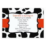 Black Cow Print & Bright Red Ribbon Invitation