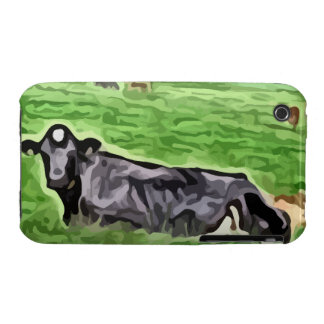 Black cow resting in grass painting iPhone 3 cover
