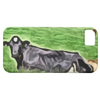 Black cow resting in grass painting iPhone SE/5/5s case