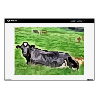 """Black cow resting in grass painting 13"""" laptop skins"""