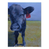 Black Cow with Red Ear Tag Poster