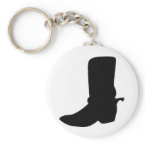 Black Cowboy Boot with Spurs Keychain