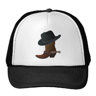 Black Cowboy Hat On Top of Leather Booth with Spur