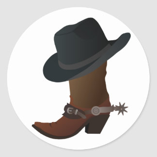 Black Cowboy Hat On Top of Leather Booth with Spur Classic Round Sticker
