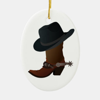 Black Cowboy Hat On Top of Leather Booth with Spur Christmas Ornament