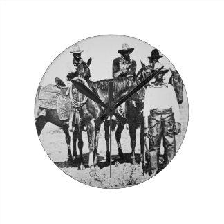 Black Cowboys at Bonham, Texas, c.1890 (b/w photo) Round Clock
