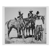 Black Cowboys at Bonham, Texas, c.1890 (b/w photo) Poster