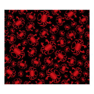 Black crab pattern print