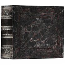 Black Cracked Faux Leather Ancient Tome 3 Ring Binder