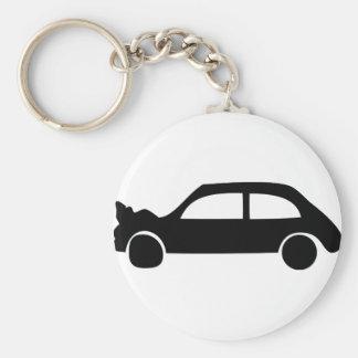 black crash car icon basic round button keychain