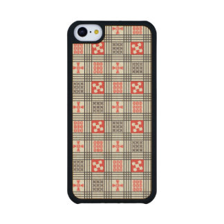 Black, Cream and Red Adinkra pattern Carved® Maple iPhone 5C Case