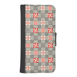 Black, Cream and Red Adinkra pattern Phone Wallet Cases