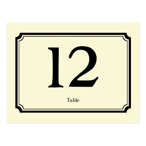 Black cream art deco reception table number card