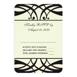 Black Cream Art Deco Wedding RSVP Card