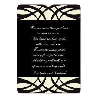 Black Cream Art Deco Wedding Seating Cards Business Card