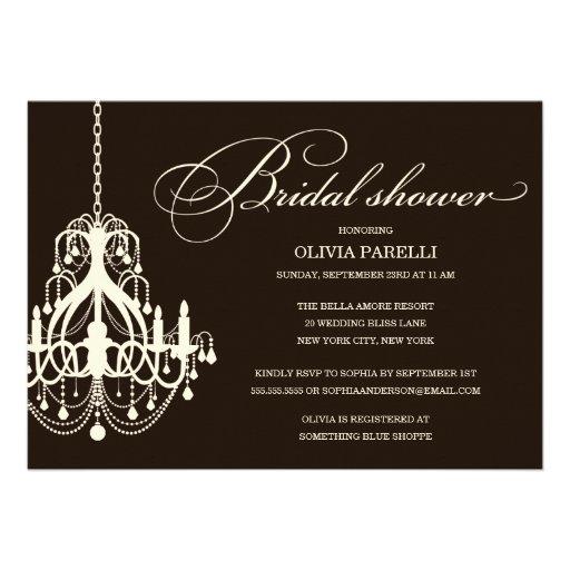 BLACK & CREAM CHANDELIER   BRIDAL SHOWER INVITE