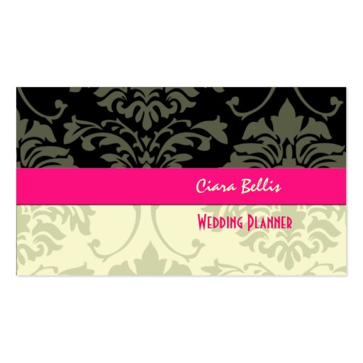 Black + cream damask business cards