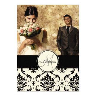Black Cream Damask Wedding Photo Thank You Card