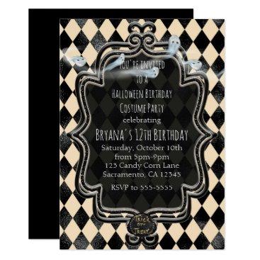 Halloween Themed Black & Cream Diamond Halloween Party Invitation