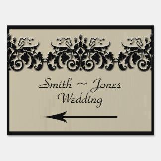 Black Cream Floral Embossed Wedding Direction Sign