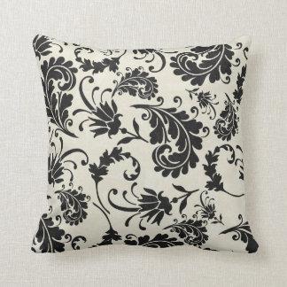 Black & Cream Flourish Throw Pillow